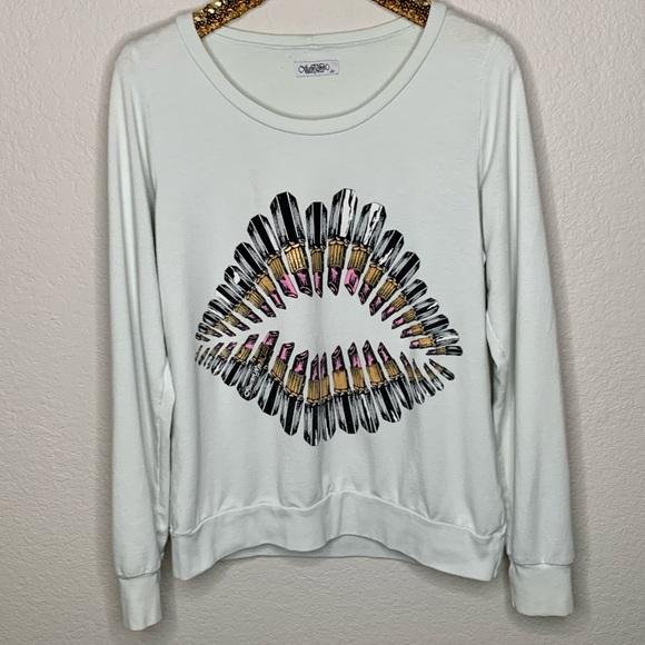 Lauren Moshi Lipstick Lip Kiss Pullover Sweatshirt